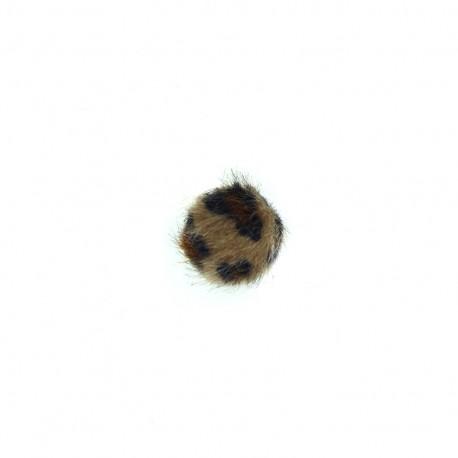 Petite bille fur button - leopard chocolate