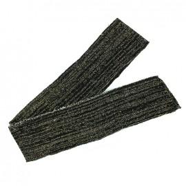Bande fil lurex bord-côte noir - lurex doré (1m)