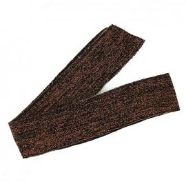 Bande fil lurex bord-côte noir - lurex cuivre (1m)