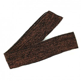 Lurex knitted tubular edging strip black - copper lurex (1m)