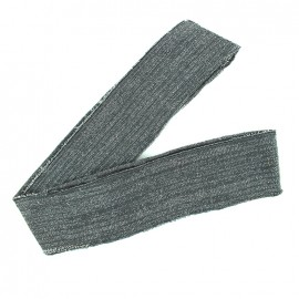 Lurex knitted tubular edging strip grey - silvery lurex (1m)