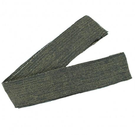 Lurex knitted tubular edging strip grey - gold lurex (1m)