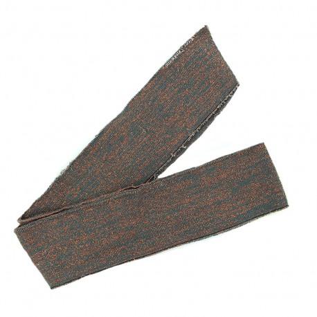 Bande fil lurex bord-côte gris - lurex cuivre (1m)