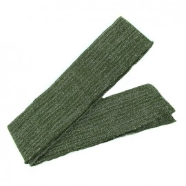 Bande fil lurex bord-côte kaki - lurex argent (1m)