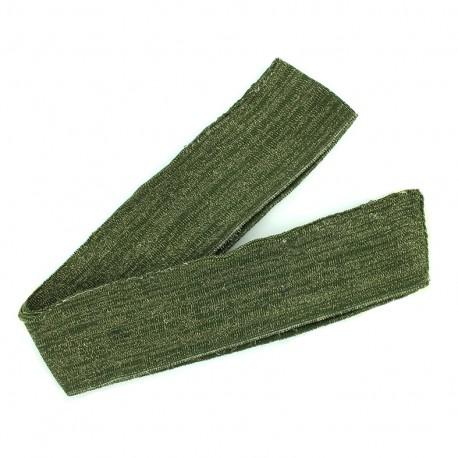 Lurex knitted tubular edging strip khaki - gold lurex (1m)