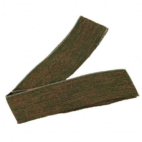 Lurex knitted tubular edging strip khaki - copper lurex (1m)