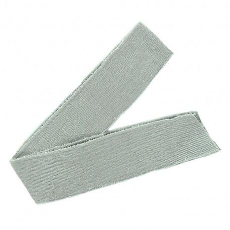 Lurex knitted tubular edging strip grey - silvery lurex (1m)