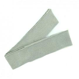 Bande fil lurex bord-côte gris clair - lurex doré (1m)