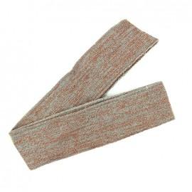 Bande fil lurex bord-côte gris clair - lurex cuivre (1m)