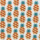 Coated cotton fabric Mini Ananas - red x 10cm