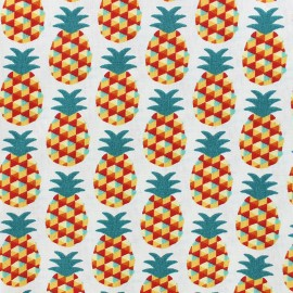 Tissu Oeko-Tex enduit coton Mini Ananas - rouge x 10cm