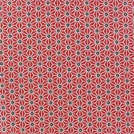 Coated cotton fabric Saki - red/white x 10 cm
