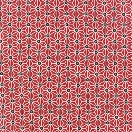 Tissu Oeko-Tex enduit coton Saki - rouge/blanc x 10cm
