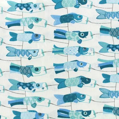 Cretonne cotton Fabric Mini cerf-volants - blue x 10cm