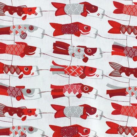 Cretonne cotton Fabric Mini cerf-volants - red x 10cm
