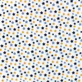 Oeko-tex cotton poplin fabric Starry - blue/orange x 10cm