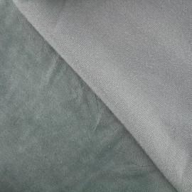 Jersey sponge velvet fabric -smoked blue x 10cm