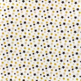 Oeko-tex cotton poplin fabric Starry - brown/yellow x 10cm