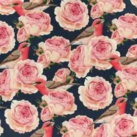 ♥ Coupon tissu 70 cm X 150 cm ♥ Tissu Jersey Rose Garden - bleu marine