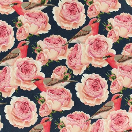 Tissu Oeko-Tex Jersey Rose Garden - bleu marine x 10cm