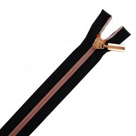 Fermeture éclair séparable cuivre - noir/rose