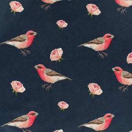 Tissu Oeko-Tex Jersey Rouge gorge - bleu marine x 10cm
