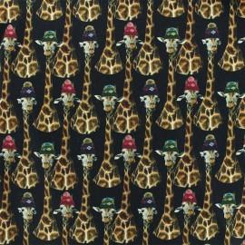 Tissu Jersey Girafe family - noir x 10cm