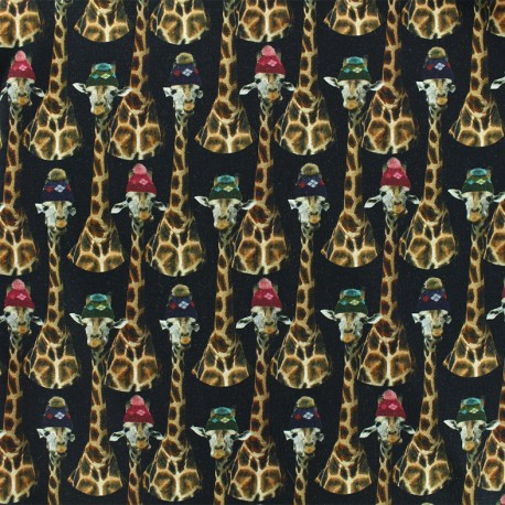 Tissu Oeko-Tex Jersey Girafe family - noir x 10cm