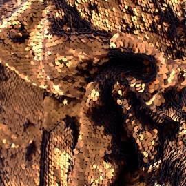 Sewn sequin fabric - copper x 10cm