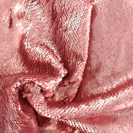 Sewn sequin fabric - pink x 10cm