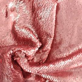 Tissu sequins mat - rose x 10cm