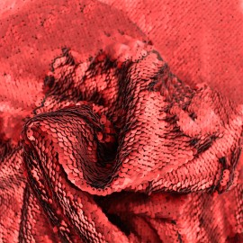 Sewn sequin fabric - passion red x 10cm