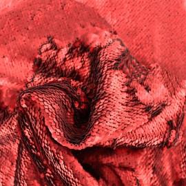 Tissu sequins mat - rouge passion x 10cm