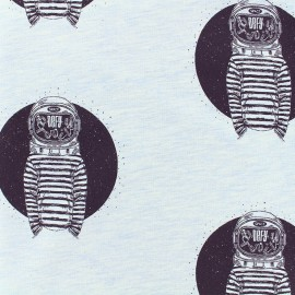 Cat the cat light sweat fabric - blue/white x 10cm