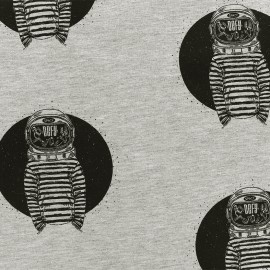 Tissu Oeko-Tex sweat léger Allo la terre - gris x 10cm