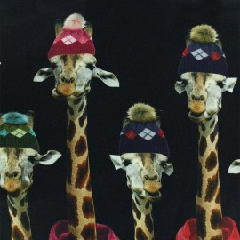 Tissu Oeko-Tex Jersey double bord Girafe - noir x 35cm