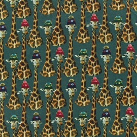 Tissu Jersey Girafe family - vert x 10cm