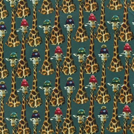 Girafe family Oeko-Tex Jersey fabric  - green x 10cm
