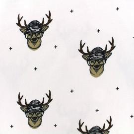 Tissu Oeko-Tex Jersey Bio Mr le cerf - blanc x 10cm