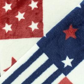 ♥ Coupon 70 cm X 150 cm ♥ Tissu Doudou double face America America - bleu