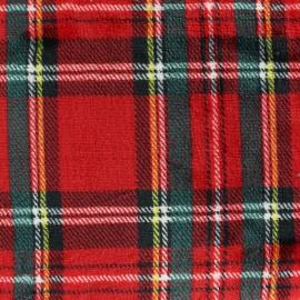Tissu Doudou Écossais - rouge x 15cm