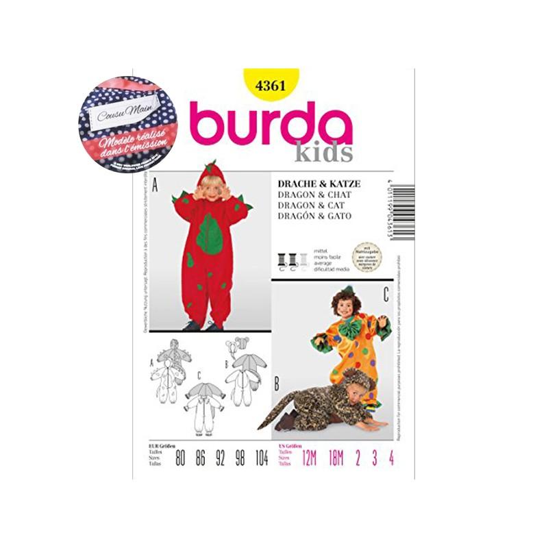 Patron Cousu Main Burda Déguisement Dragon & Chat n°4361 - Saison 3