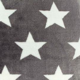Tissu Doudou double face Stars and Stripes - gris x 10cm