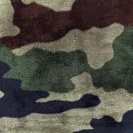 Tissu Doudou Army - vert x 10cm