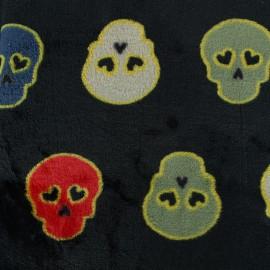 Tissu Doudou Lovely skull - noir x 10cm