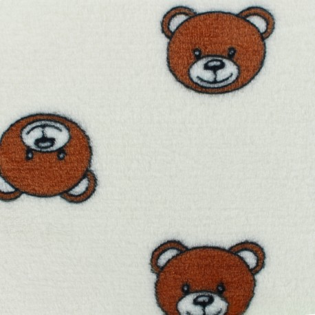 Tissu Doudou Teddy - blanc x 10cm