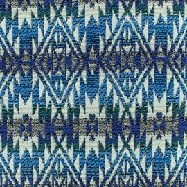 Tissu jacquard tissé Aztec - azur x 10cm