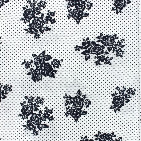 Cotton Sweet blossom fabric - white x 10cm