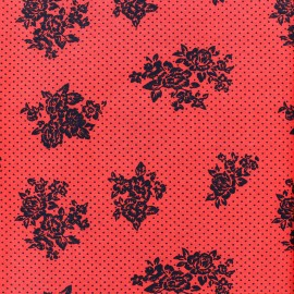 Tissu coton Sweet blossom - rouge x 10cm
