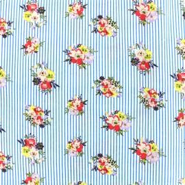 Tissu coton Vintage blossom - bleu x 10cm